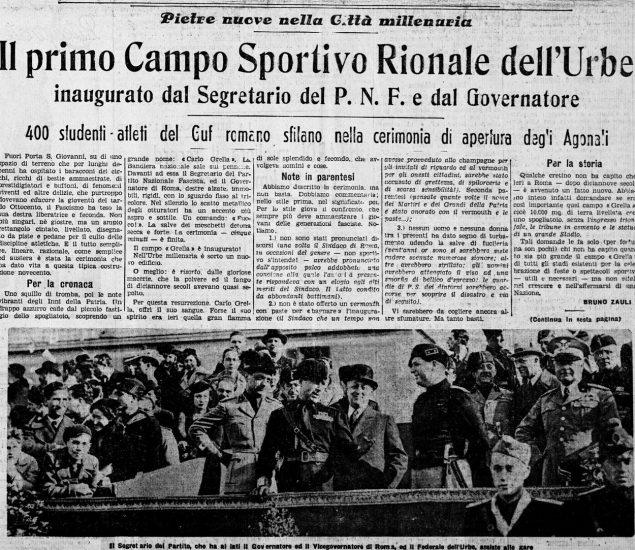 articolo dal giornale Il Littorio del 13 Marzo 1935