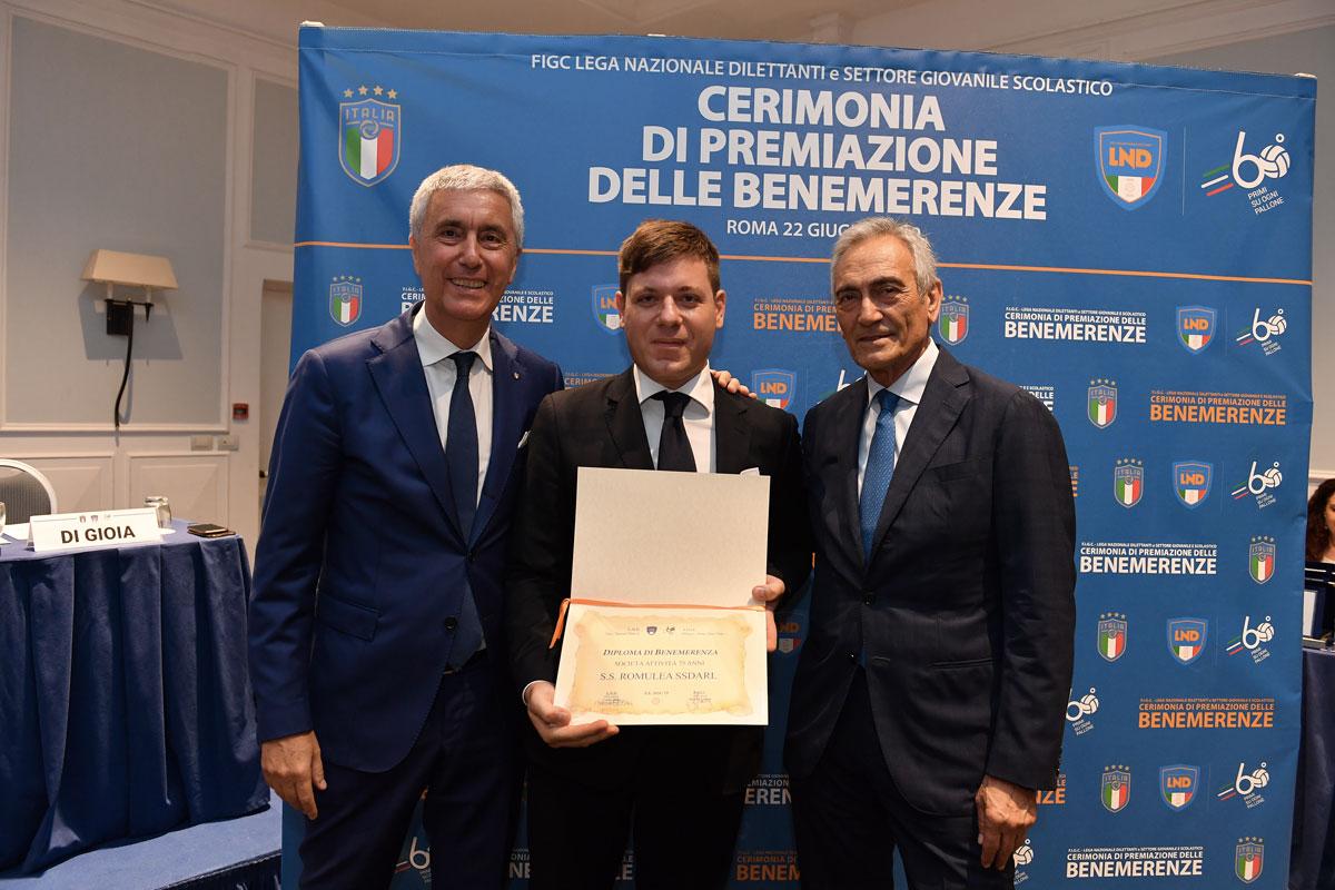 La Romulea premiata quale società benemerita della Lega Dilettanti FIGC