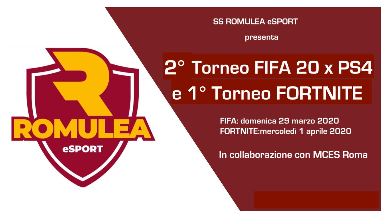 Nuovi Tornei Romulea ESPORT – FIFA20 E FORTNITE